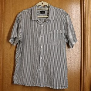 Men's Obey Lightweight Black/White Striped Shirt L